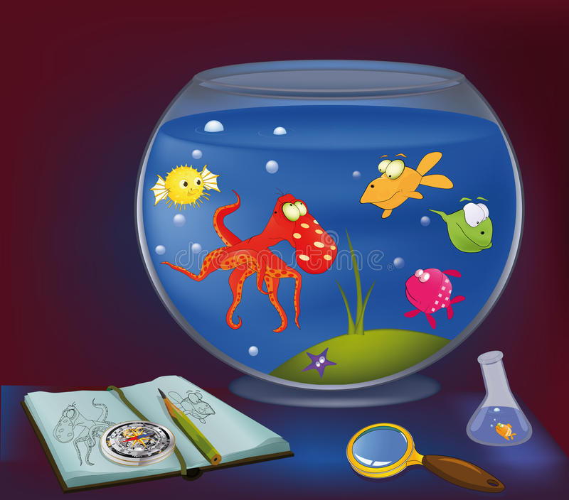 Polipo, un acquario illustrazione vettoriale