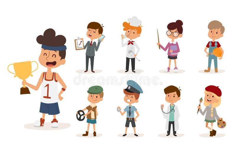Polis för byggmästare för kock för idrottsman för målare för barndom för person för illustration för uppsättning för vektor för b vektor illustrationer