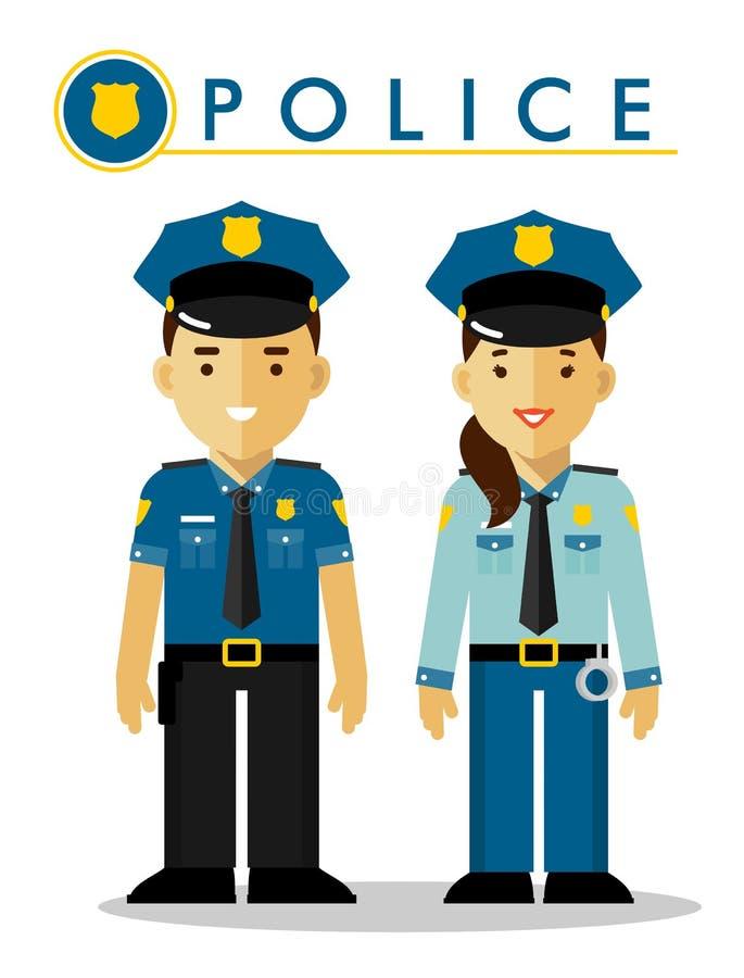 Polis i likformig vektor illustrationer