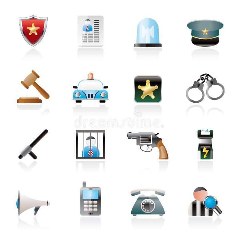 polis-, lag- och säkerhetssymboler royaltyfri illustrationer