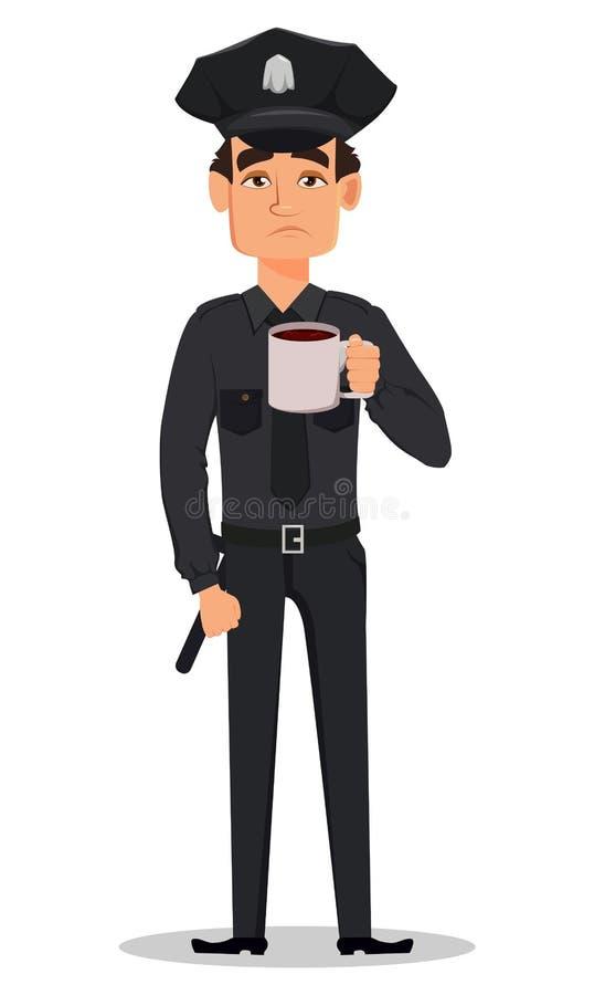 Polis polis med en kopp av den varma drinken, te av kaffe Ledset trött stock illustrationer