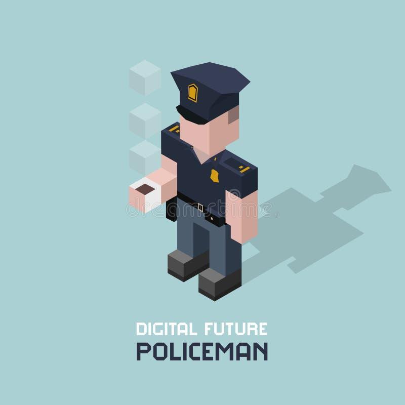 Polis med kaffe Skära i tärningar den isometriska vektorillustrationen för sammansättning av polisen Snut med koppen kaffe royaltyfri illustrationer