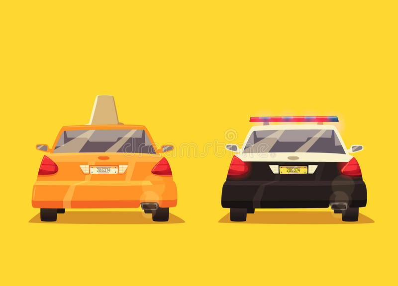 Polis- och taxibil missbelåten illustration för pojketecknad film little vektor vektor illustrationer