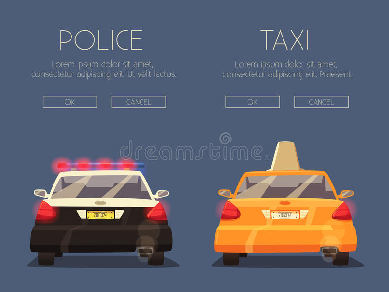 Polis- och taxibil missbelåten illustration för pojketecknad film little vektor royaltyfri illustrationer