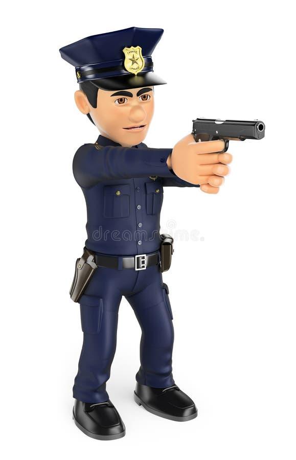polis som 3D siktar ett vapen royaltyfri illustrationer