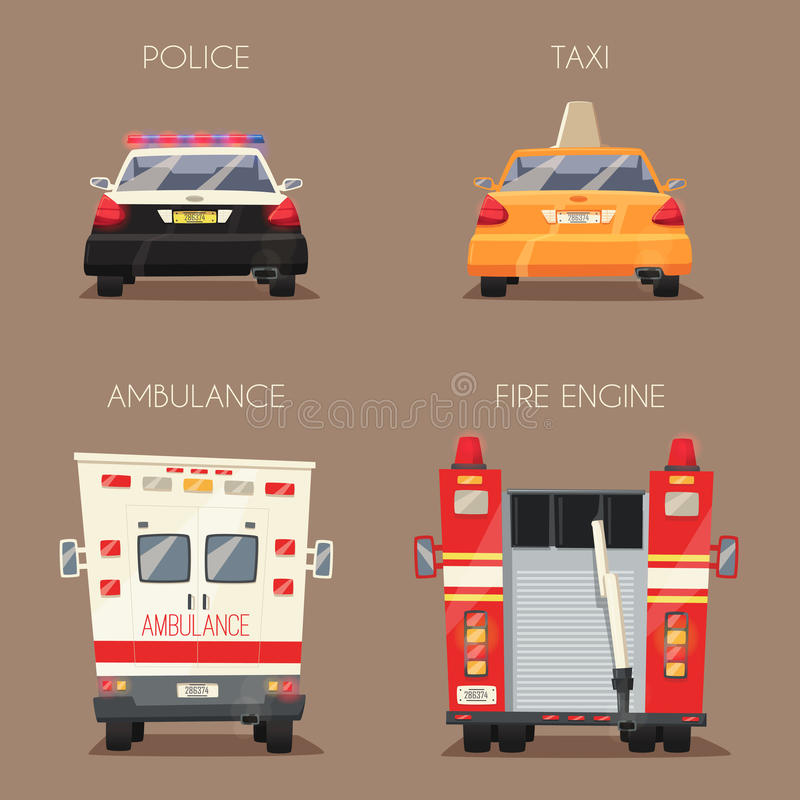 Polis-, taxi-, ambulansbil och Firetruck missbelåten illustration för pojketecknad film little vektor stock illustrationer