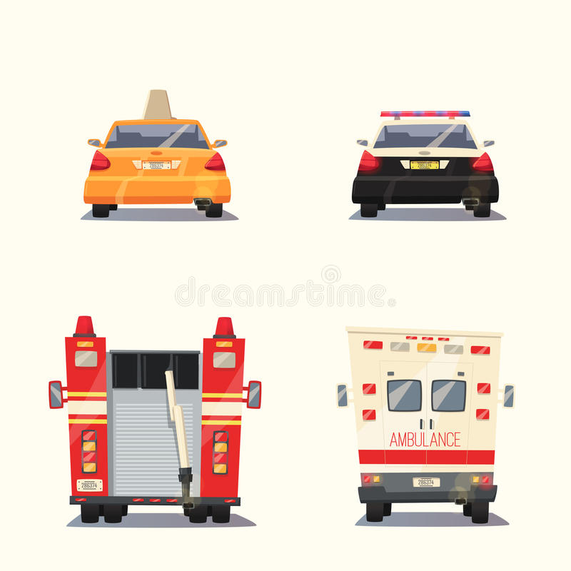 Polis-, taxi-, ambulansbil och Firetruck missbelåten illustration för pojketecknad film little vektor royaltyfri illustrationer