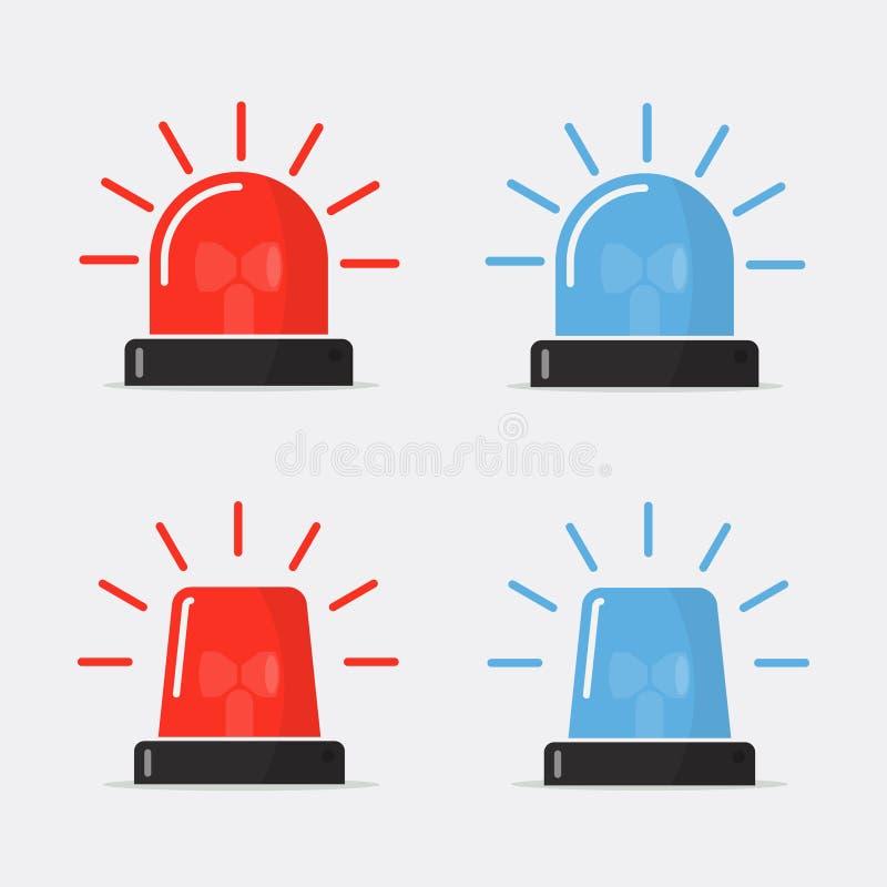 Polisblinker, sirenvektoruppsättning stock illustrationer