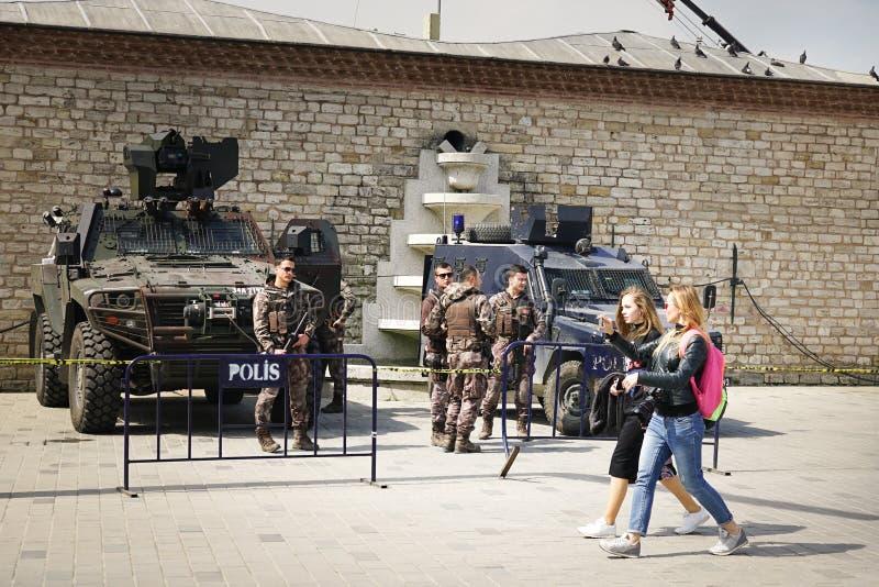 Polisen av Istanbul i Taksim kvadrerar arkivfoton