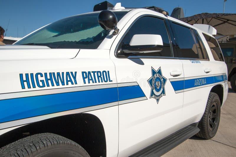 Polisen för statlig huvudväg patrullerar medlet royaltyfri bild