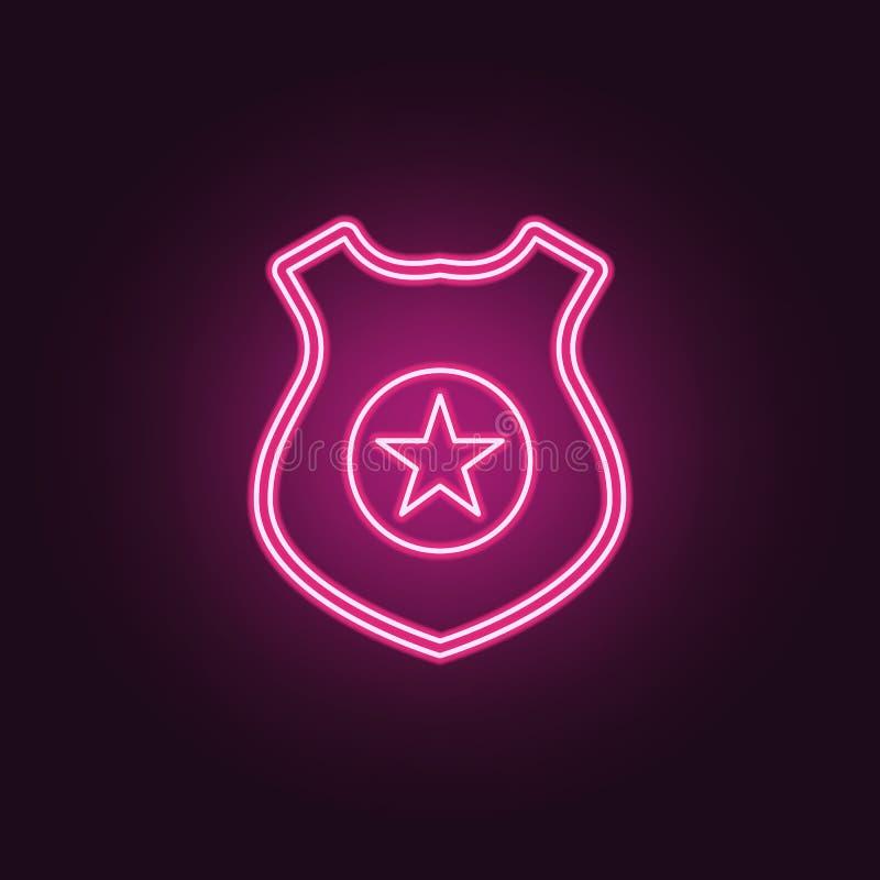 Polisen förser med märke symbolen Beståndsdelar av brotts- utredning i neonstilsymboler Enkel symbol för websites, rengöringsdukd stock illustrationer
