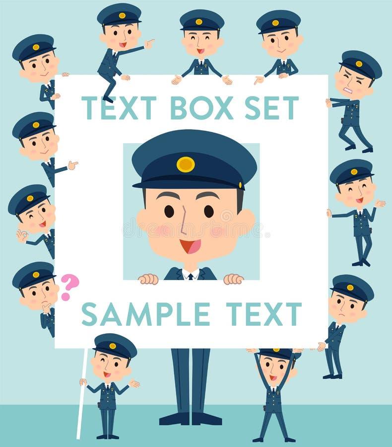 Polisen man textasken stock illustrationer