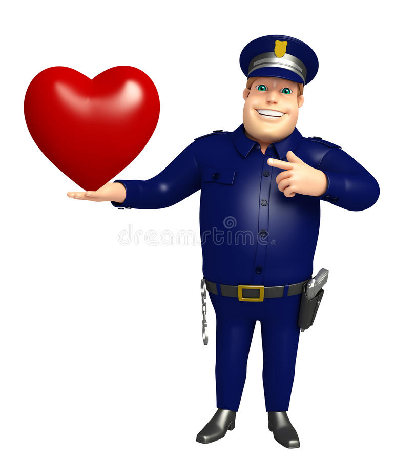 Polisen med hjärta stock illustrationer