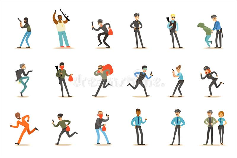 Polisen och uppsättning för likformig för polis för tecken för tecknad film för vägpatrull lycklig tjänstgörande bärande royaltyfri illustrationer
