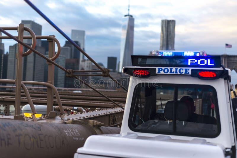 Polisen på bron royaltyfri fotografi