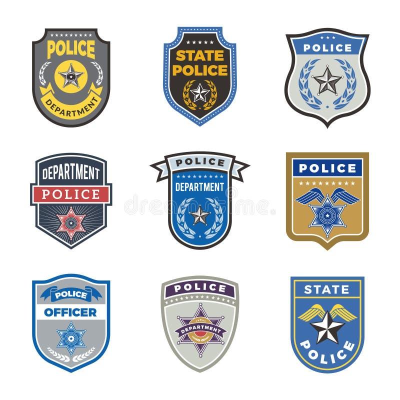 Polisen skyddar Det regerings- medlet förser med märke och symboler för vektor för polisentjänstemansäkerhet stock illustrationer