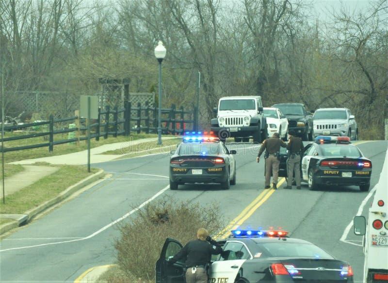Polisen som ankommer på platsen royaltyfri fotografi