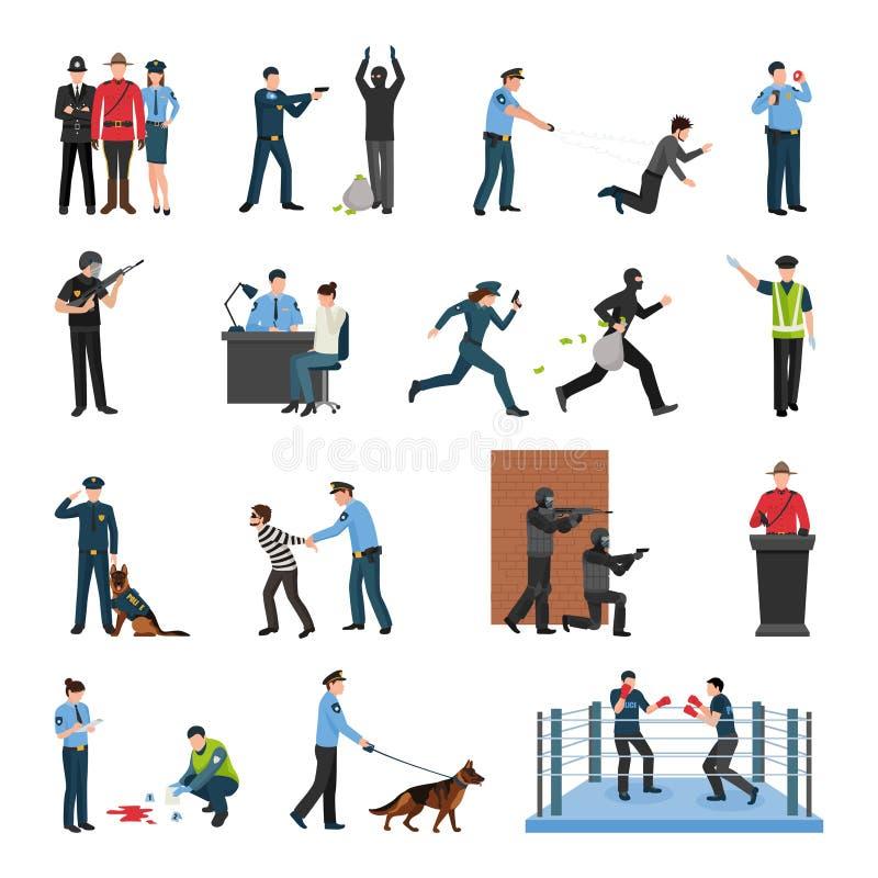 Polisen Team Training Flat Icons Set vektor illustrationer