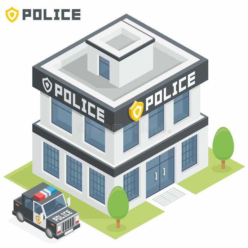 Polisenbyggnad royaltyfri illustrationer