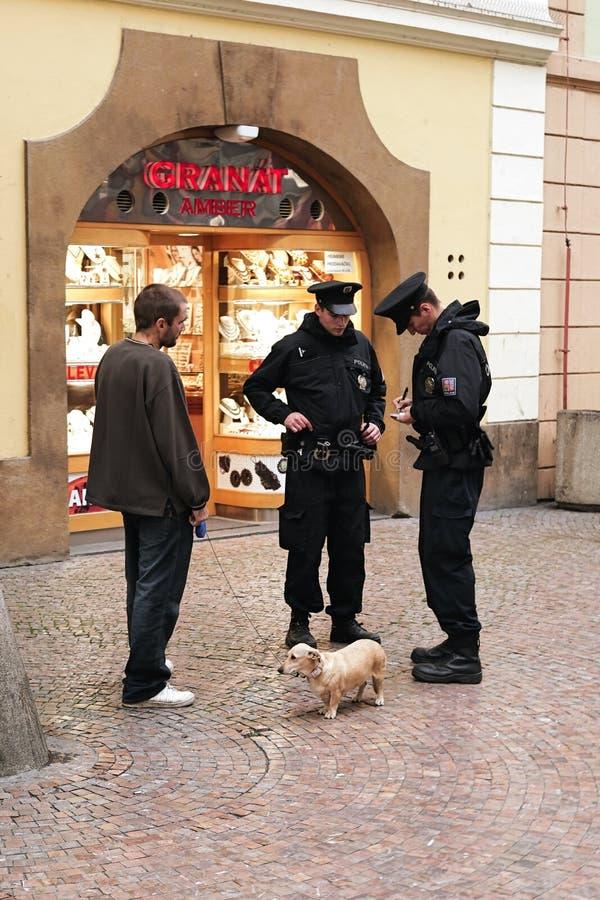 Poliser i Prague royaltyfri bild