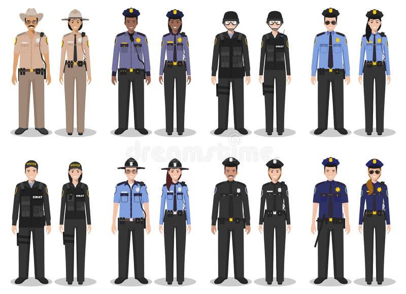 Polisfolkbegrepp Ställ in av olik detaljerad illustration av den FLUGSMÄLLAtjänstemannen, polisen, kvinnliga polisen och sheriffe royaltyfri illustrationer