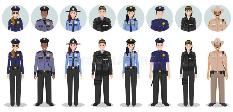 Polisfolkbegrepp Uppsättningen av olika detaljerade illustration- och avatarssymboler av FLUGSMÄLLAN kommenderar, polisen, kvinnl stock illustrationer