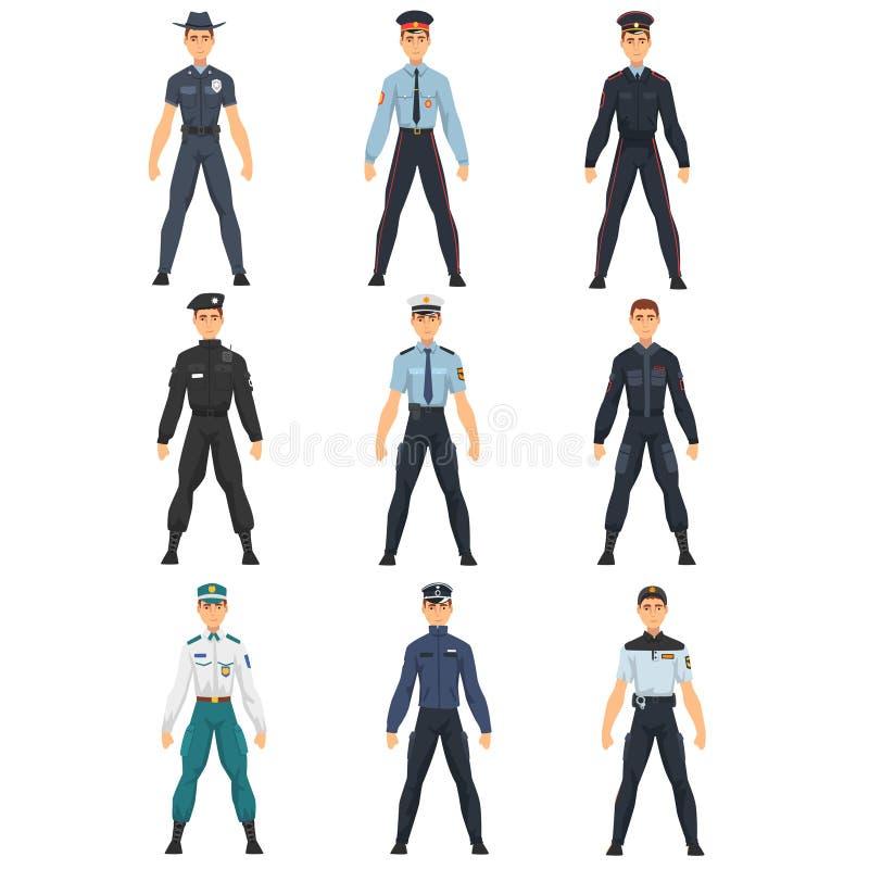 Polisfolkuppsättning, polislikformig av den olika landsvektorillustrationen royaltyfri illustrationer