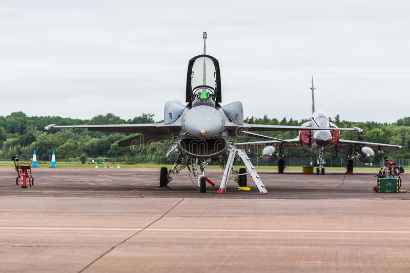 Polish Air Force Tiger Demo F-16C. Captured at the 2016 Royal International Air Tattoo at RAF Fairford stock photos