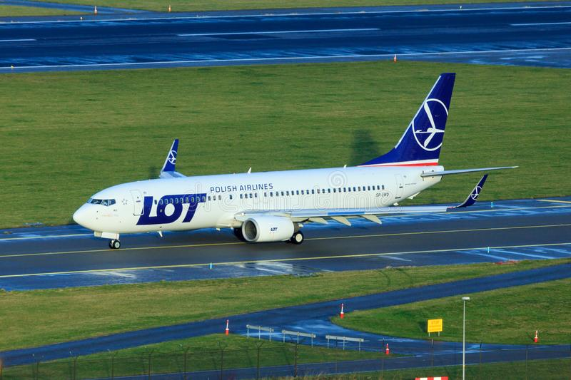 LOT Boeing 737-800. Polish airline LOT Polski Linie Lotnicze Boeing 737-800 taxiing on taxiway stock images