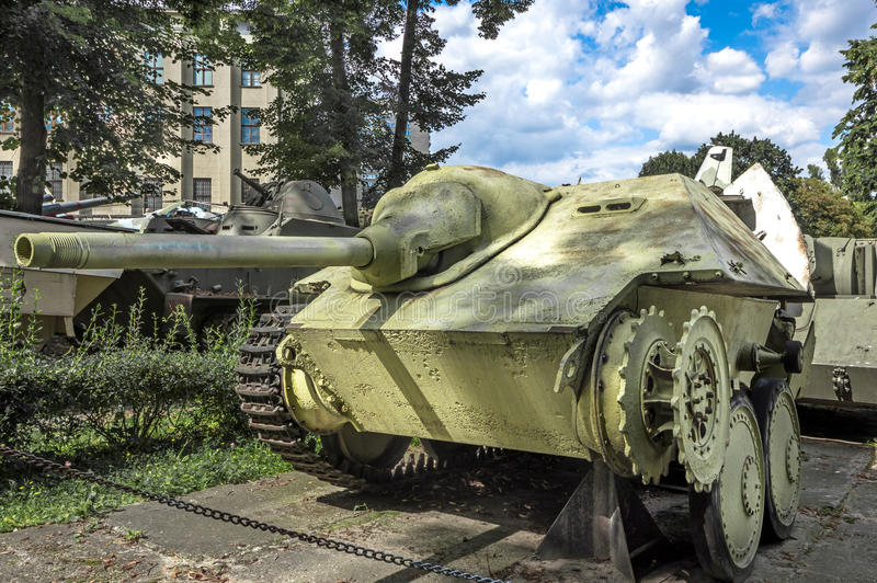 Weapons and equipment - Sd.Kfz. 138/2. Jagdpanzer 38 (T) or Sd.Kfz. 138/2, German motorized light tank destroyer, one of the displays at the Museum of stock photography