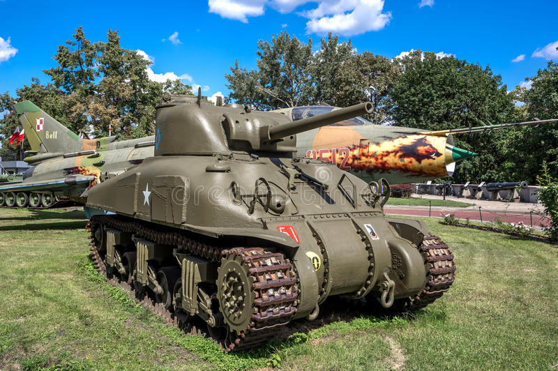 Weapons and equipment - Sherman. American M4 Sherman medium tank in front of the Museum of the Polish Army - Warsaw, Poland stock photography