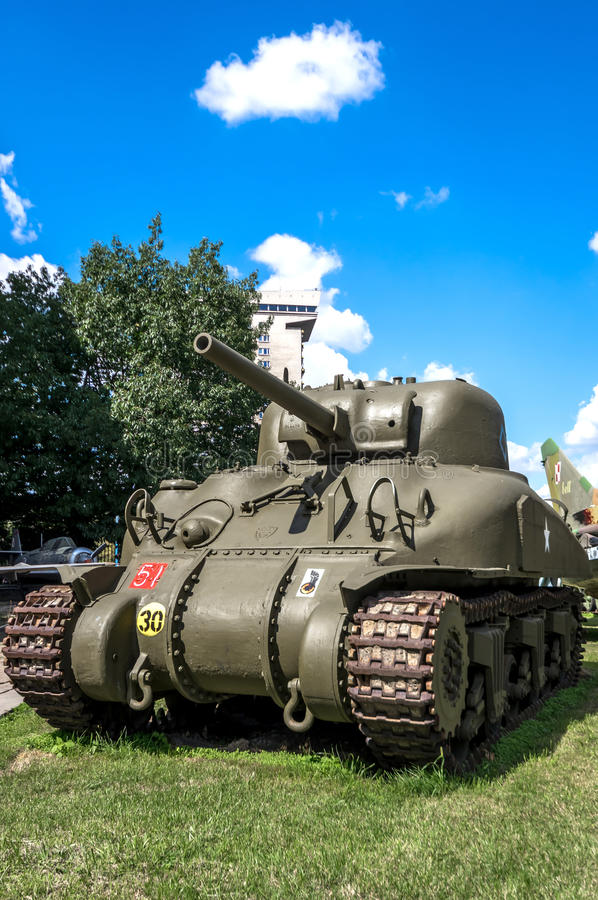 Weapons and equipment - Sherman. American M4 Sherman medium tank in front of the Museum of the Polish Army - Warsaw, Poland stock photos