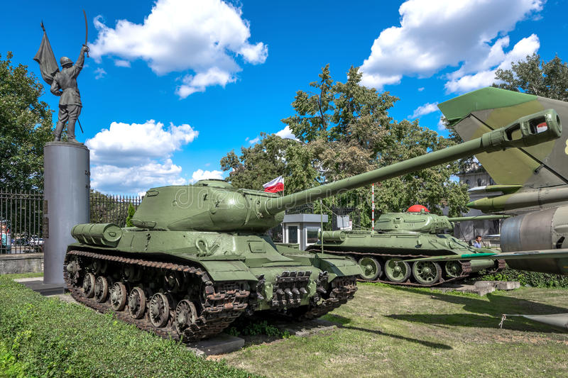 Weapons and equipment - IS-2. Soviet IS-2 Iosif Stalin heavy tank in front of the Museum of the Polish Army - Warsaw, Poland stock photo