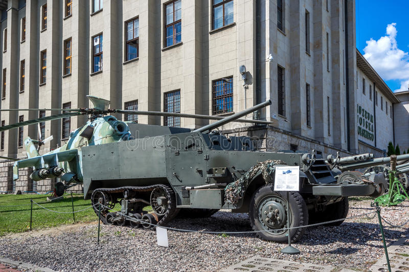 Weapons and equipment - SU-57. Soviet SU-57 (or American T-48) 57 mm Gun Motor Carriage, self-propelled motorized anti-tank gun, one of the displays at stock photography