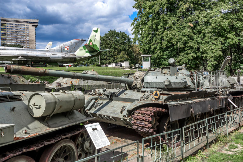 Weapons and equipment - T-55AMS. T-55AMS main medium battle tank with the `Merida` fire control system, one of the displays at the Museum of the Polish Army royalty free stock image
