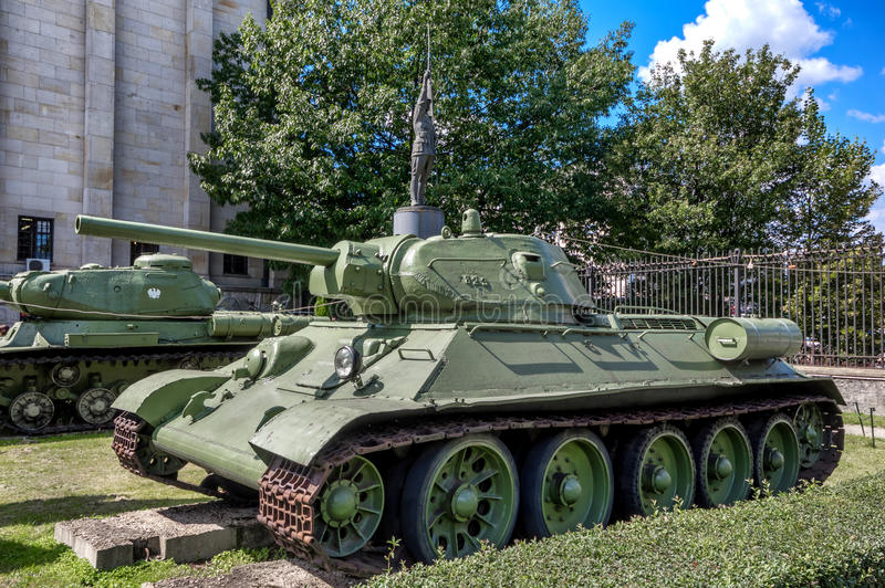 Weapons and equipment - T-34. Soviet T-34 medium tank in front of the Museum of the Polish Army - Warsaw, Poland royalty free stock images