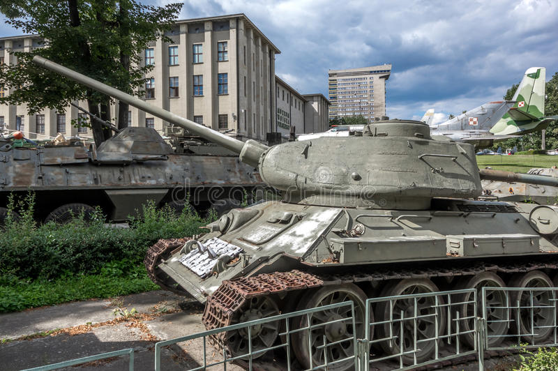 Weapons and equipment - T-34/85. Soviet T-34/85 medium tank in front of the Museum of the Polish Army - Warsaw, Poland royalty free stock photo