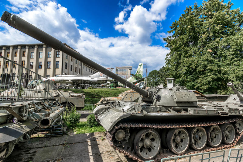 Weapons and equipment - T-55U. Soviet T-55U main medium battle tank, one of the displays at the Museum of the Polish Army - Warsaw, Poland royalty free stock photography