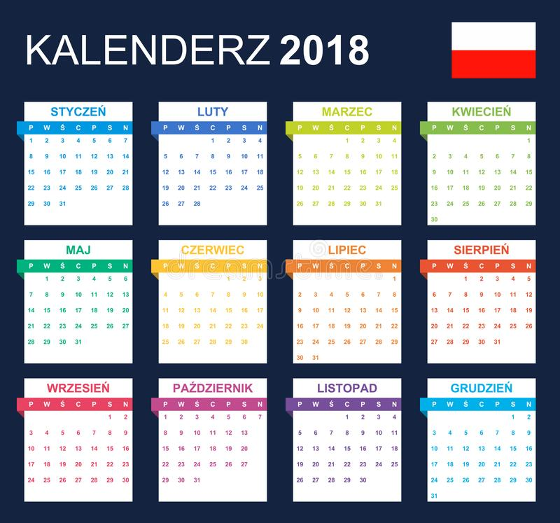 Polish Calendar for 2018. Scheduler, agenda or diary template. Week starts on Monday.  stock illustration