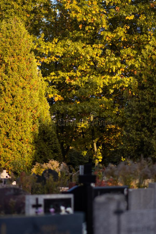 Polish cemetary before All Saints Day. stock photography