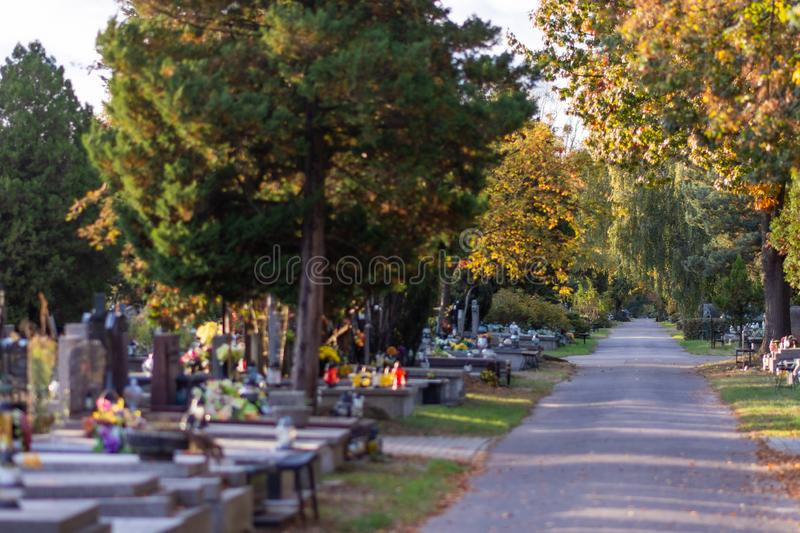 Polish cemetary before All Saints Day. stock image
