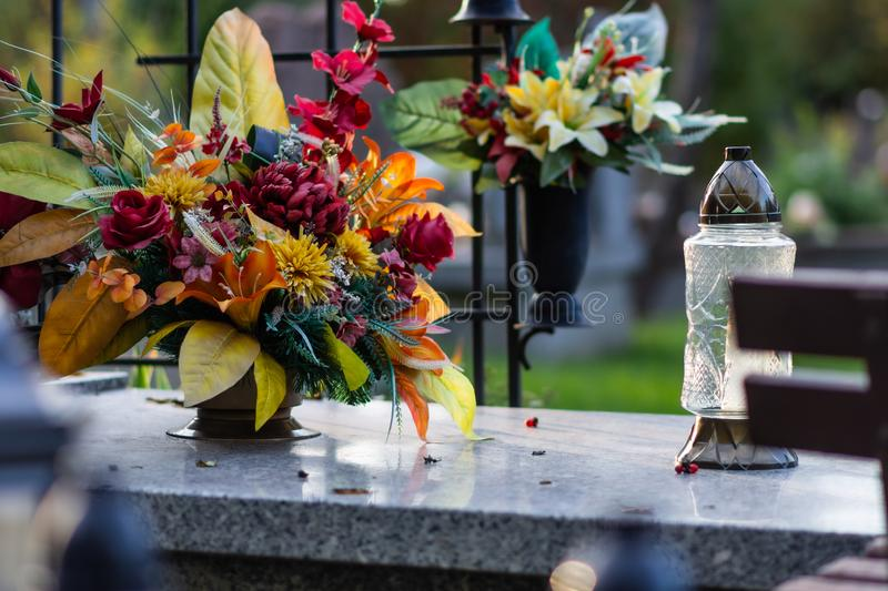 Polish cemetary before All Saints Day. royalty free stock images