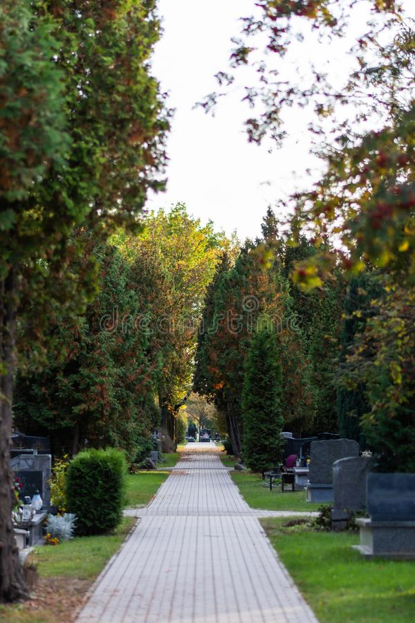 Polish cemetary before All Saints Day. stock images