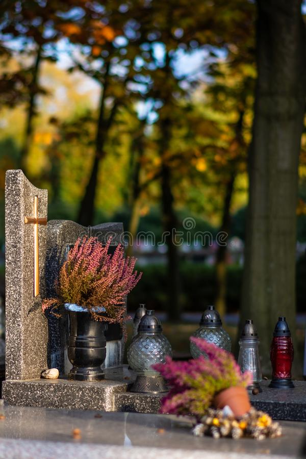 Polish cemetary before All Saints Day. royalty free stock photo