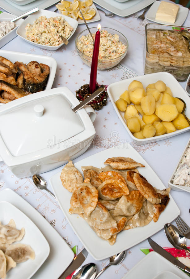 Polish Christmas table royalty free stock images