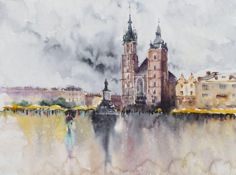 Polish city Krakow at rain.Watercolors. stock illustration
