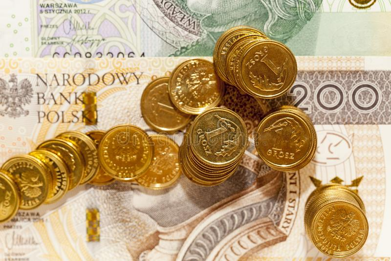 Polish coin money pile closeup stock photography