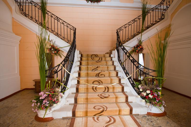 Polish count Potocki palace, staircase in the entrance lobby of the main building, ready for Tulchyn Opera Fest. Tulchyn, Ukraine - 07.06. 2019: Polish count stock photo