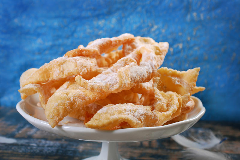 Polish deep fried pastry faworki stock images