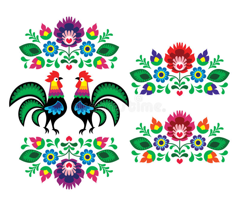 Polish ethnic floral embroidery with roosters - traditional folk pattern vector illustration